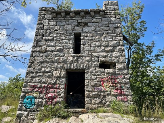 Front entrance of a stone water tower