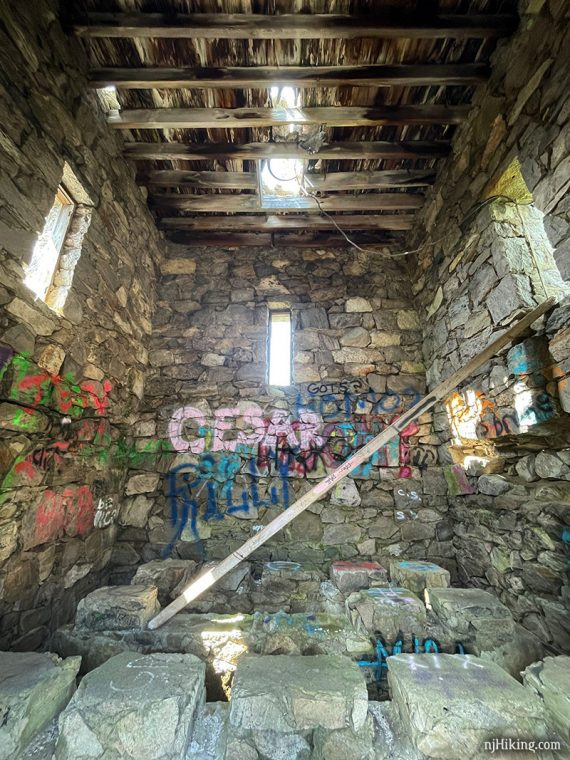 Interior of a stone tower that once held a water cistern