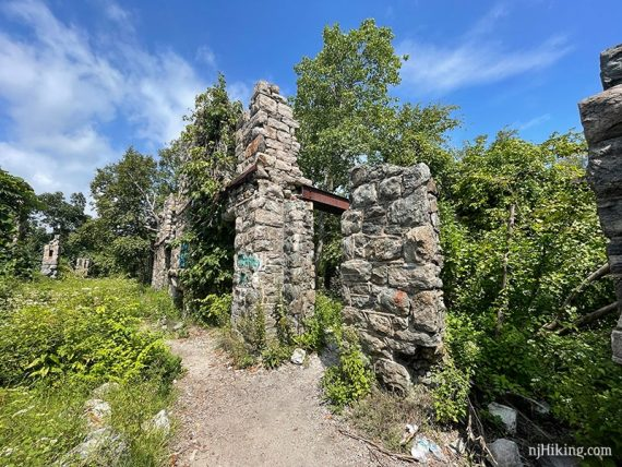 Remains of the outside stone wall of Van Slyke Castle.
