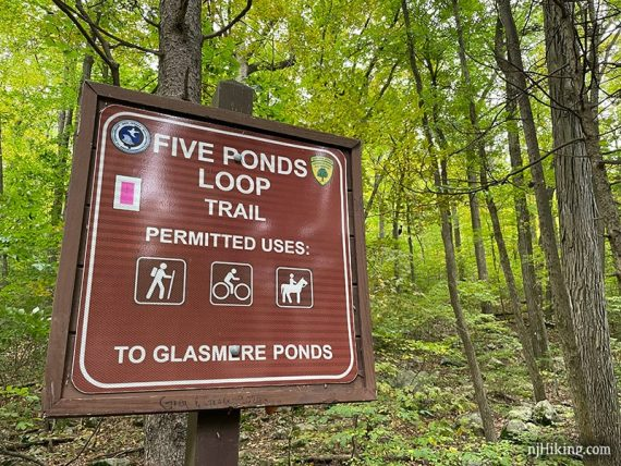 Sign for Five Ponds Loop trail
