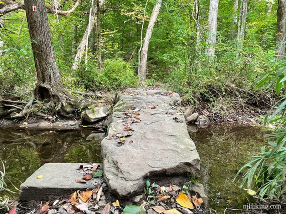 Large slab of rock placed as a bridge over a stream