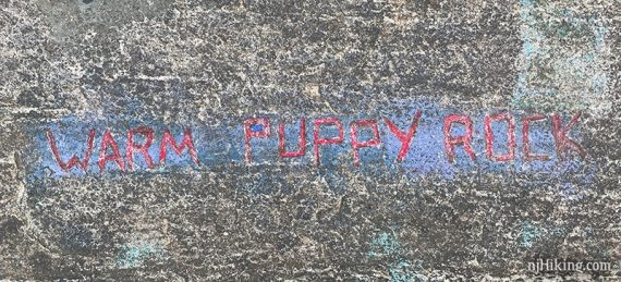 Warm puppy rock carved into rock and colored red